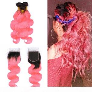 Zwei-Farben-Körper-Wellen-Haar-einschlag Verlängerungen mit Closure 4x4 Ombre 1B Hot Pink Virgin Haare 3Bundles mit Spitze Schließung mit Baby-Haare