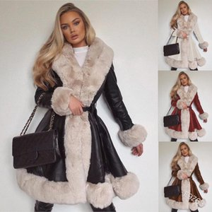 WEPBEL Winter Women's Casual Warm Fux Fur Long Sleeve V-neck Cardigan Lace-up Long Coat Splicing Coat
