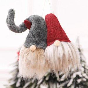 Venda de Natal Handmade janela da porta engraçado Plush Dolls Christmas Tree Fluff boneco pendurado presentes Pendant Ornament Xmas dos desenhos animados Nisse FWD2257