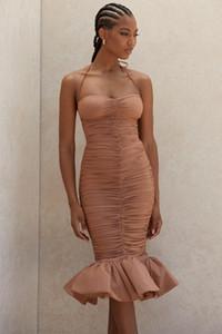 Deive TEGER MULHERES 2020 NOVO DA FORMA CABEÇADA TAN PLISSADO MIDI vestido celebridade NOITE vestidos de festa 8325