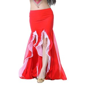 New Belly Dance Costume Crystal Cotton Duplo Sexy Dividir Skirt Belly Dance Ruffle saia para Oriental Índia Vestido 9 cores