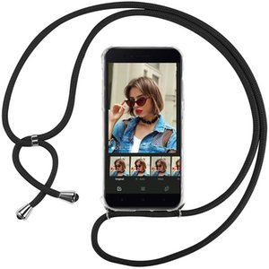 Shockproof 1.6m 6mm necklace Crossbody Lanyard Transparent TPU Case for Xiaomi A2 Cell phone Cover