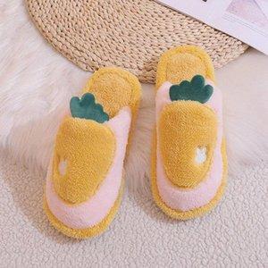 Neue Winter Hausschuhe Womans Indoor Hausschuhe 2020 Warme Plüsch Liebhaber Home Schuhe Dicke Sohle Obst Muster Schöne Weibliche Schuhe # CJ6G