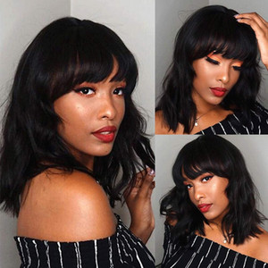 Elegant Off Black Wig With Bangs Bob Short Curly Wigs For Women, Charming Natural Wavy Wigs For Black Women Bangs Wigs Hair Wig ( Black 14in