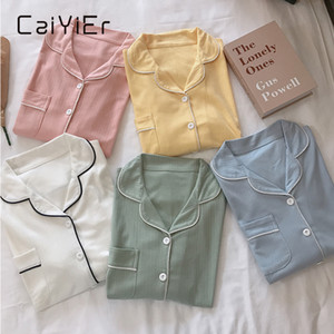 Pigiama delle donne di Caiyier Set di Pure Color Femme Nighty Inverno Inverno Spessa Casual Sleepwear Sleepwear Girls Girls Colletto di Turn-Down Carino Nightwear 201031