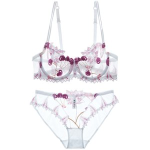 Fashion Cherry Bordado Flowers Live Lencería Set Transparent Underwear Women Tamaño D Taza Sexy Bra Panty Sets Black Bow C1214