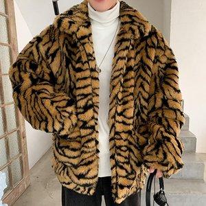 Homens faux de pele de tigre padrão tigre tigre jaqueta jaqueta jaqueta jaqueta outwear de grandes dimensões casacos quentes homem grão imitar fur1