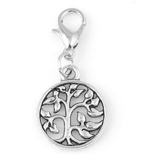 Silver Family Tree Of Life Plates Dangle Charms Pendant With Lobster Clasp Fit For Glass Floating Locket Jewelrys