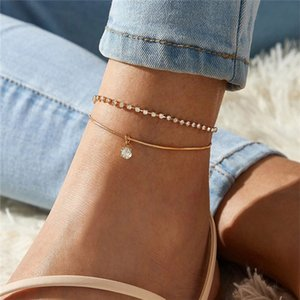 Double-deck Anklet Rhinestone Crystal Ankle Charm Bracelet Boho Beach Anklets for Women Sandals Foot Bracelets Female Wedding Jewelry