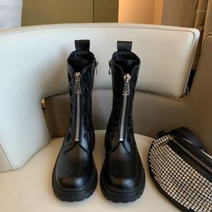 Bottes de moto à fermeture à glissière frontale MONMOIRA Femme Noir Punk Platform Bottes Femmes Round Toe Martin Designer Chaussures1