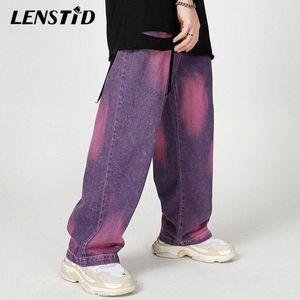 LENSTID 2020 Hip Hop Tie Dye rigonfi Denim Pantaloni Uomo Streetwear Harajuku lavabile Jeans Autunno pantaloni marchio di abbigliamento 0W3l #