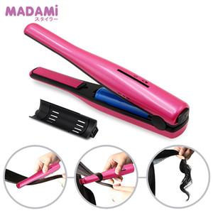 Tragbare Madami Curling Eisen Lithium-Ionen-Akku 2200mAh Mini Wireless Glätteisen keramische Platten-Haar Flacheisen