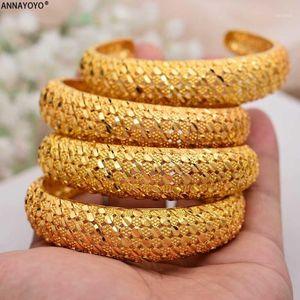 Annayoyo 4 Teile / los Dubai Armreif Frauen Äthiopier Gold Farbe Armbänder Naher Osten Beste Hochzeit Schmuck Afrikanische Ornamente1