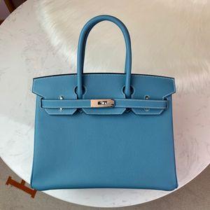 Design all'ingrosso Handmade Handmade Epsom Design Design Handbag30cm, Jean Blue Colour, Filo di cera, Hanno sia hardware in oro che argento, consegna veloce