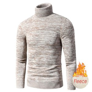 Men 2021 Autumn New Casual Mixed Color Cotton Fleece Turtleneck Sweater Pullovers Men Winter Fashion Warm Thick Sweater