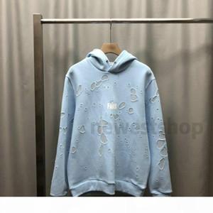 2020 Kış Avrupa Paris Giyim Erkek Klasik Büyük Kırık Delik Hoodies 12 Renk Kazak Kadın Hoodies Moda Süveter Tasarımcı Hoodie