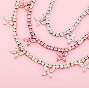 Iced Out Pink Butterfly Tennis Chain Real Zirconia Stones Gold Silver Plated Single Row Men Women 5mm Diamonds Necklace Jewelry