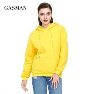 GASMAN Autumn yellow thick hoodies sweatshirt pullovers Women loose winter hooded Female long sleeve pocket sweatshirt coat 2020