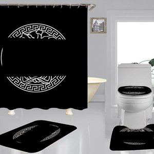 Tendência Imprimir cortinas de chuveiro conjuntos de luxurys designers de alta qualidade de quatro peças terno banheiro anti-espigante antiderrapante desodorante desodorante toaletes