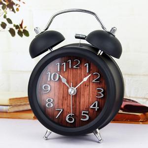 Wooden Snooze Backlight Battery Powered Metal Desktop Digital Table Clocks Gradually Ringing Alarm Bell Desk Clock