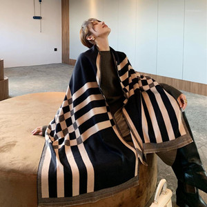 Luxury Black Plaid Scarf Women Winter Warm Cashmere Blanket Wraps Female Scarves Lady thick Foulard Stole1