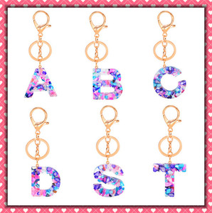 Hot-selling popular styles 26 English exquisite fashion acrylic letter keychain jewelry fashion pendant creative gifts wholesale 20 per pack