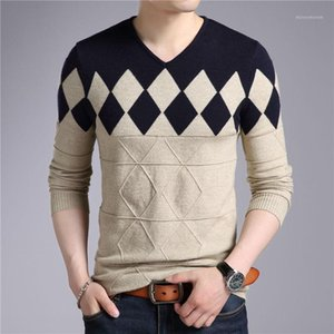Men's cashmere wool pullover 2018 autumn and winter diamond pattern V-neck long-sleeved sweater Slim Christmas1