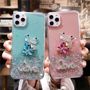 Luxury Butterfly Glitter Stars case soft phone case for iphone X XR XS 11 12PRO MAX 7 8 plus Sequins Letter Love soft back cover