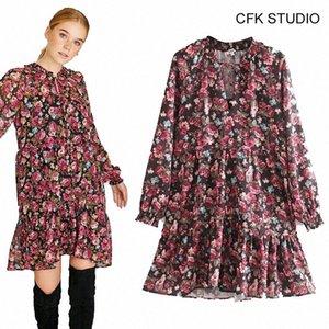 CFK femmes v-cou imprimé floral robe de coton à manches longues 2019 nouveau parti occasionnel lâche rose automne minirobe kNp6 #