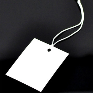 500PCs 4x3cm Paper Label Tags White Blank With String 10cm Long For DIY Blank Price Hang Tag For Clothing Tags