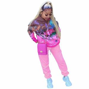 Womens impreso historieta sistemas de la ropa larga caliente del invierno de la manga con capucha Sudaderas Pantalones chándal conjuntos de dos piezas con capucha Sport traje F101905