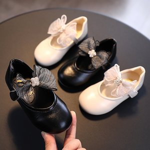 BJYL 2020 Новой кожа девушка плоского круглого Глава лук Принцесса Весна Осень Элегантного танец свадьба обувь