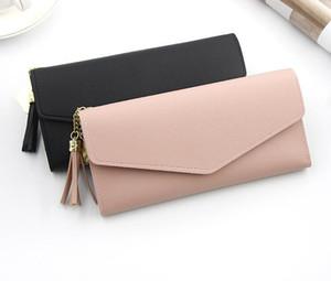 New Women Leather Wallet Lady Long Purse Tassel Clutch bags Card bag Coin Purse black
