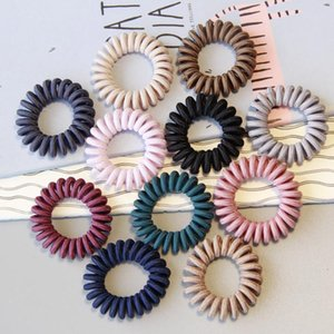 13 Colors Fabric Telephone Wire Hair Band Wrapped Cloth Design Ponytail Holder Elastic Phone Cord Line Hair Tie Hair Accessories