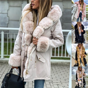 Thick Warm Long Sleeve Winter Plus Size Coat With Sash Fashion Lapel Neck Hooded Women Outerwear Clothes Fleece Womens Parkas