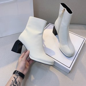 Fashion Woman barrel thick heel horseshoe with round head high heel side zipper European And American Martin boots