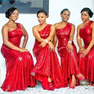 2021 Red One Shoulder Bridesmaid Dresses Sequins A Line Floor Length Custom Made Plus Size African Maid of Honor Gown Country Wedding Guest