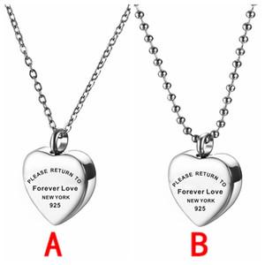 Heart Memory Halskette für Frauen Bitte kehren Sie zu Ehever Love Edelstahl Halskette Asche Urne Schmuck 110 m2