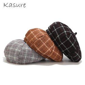 KASURE Fashion Winter Warm Wool Berets for Women Plaid Print Cashmere Warm Elegant Beret Girls Flat Hats Painter Caps