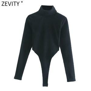 Zevity Nuove Donne Fashion TurtleNeck Collar Sexy Slim Woodsuits Yoodsuits Manica lunga Alta Streey Black Black Siamese Chic Pagliaccetti S492 Q1219
