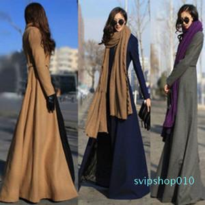 Free shipping Extra Long Wool Coat plus size coat plus size clothing spring autumn Winter long coat dress