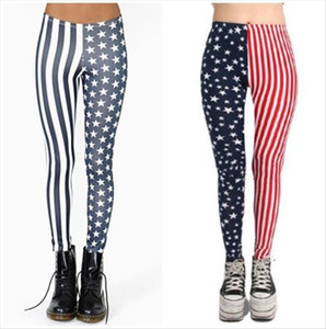 Free Shipping Womens Vintage Red Striped Stars Print Leggings Pants Color Block Stitching Splice leggings New Design