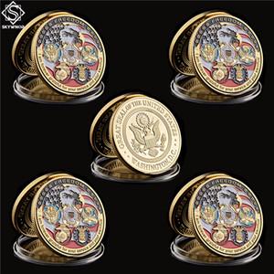 5PCS USA Military Freedom Eagle Gold Commemorative Navy USAF USMC Army Coast Guard Rare Token Challenge Coin