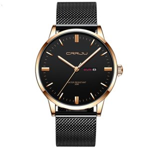 CRRJU 2168 new men's business casual quartz watch Waterproof mesh belt fashion simple ultra-thin watch