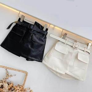 INS Newest Spring Autumn girls PU skirt baby skirt kids skirt children bottoms fashion faux leather waist belt front pockets 2-7T
