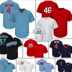Christian Yelich Ozzie 51 Randy Johnson 4 Yadier Molina Smith 25 Dexter Fowler 46 Paul Goldschmidt Baseball Jersey