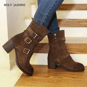 Winter Boots Women Cow Suede Belt Buckle Martin Boots Zip Round Toe Square Heel Women Shoes High (5cm-8cm) Rubber Short Plush