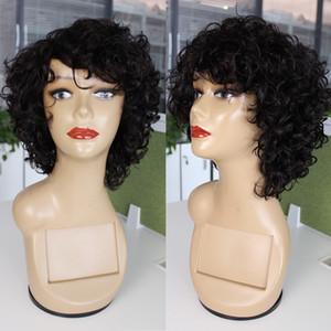 Kisshair Natürliche Farbe Wellenförmige Haare Capless Perücke Brasilianische Human-Haar-Perücken Schwarz Nicht-Remy-Vollgerät Hergestellte Glueless-Perücken für Frauen