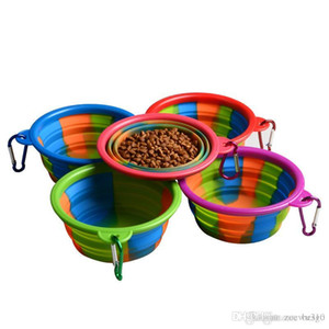 Camouflage Collapsible Pet Bowl Dog Cat Travel Feeding Bowl Water Dish Feeder Silicone Foldable Portable Dog Pet Bowls With Hook VT1772