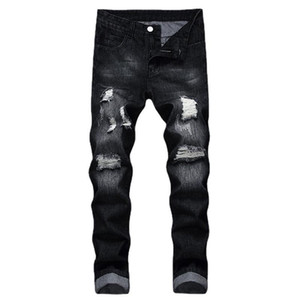 Black Hole Denim Jeans Men Slim Color Sólido Blanqueado Arrancado Blanqueado Encuadre de cuerpo entero Pantalón Casual Vaquero Moda de alta calidad